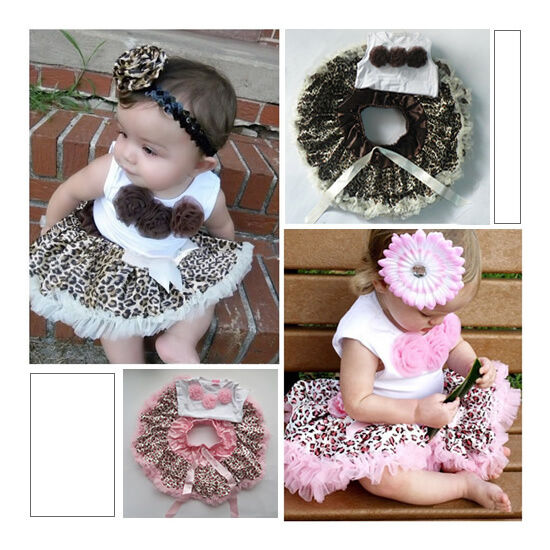 2pcs Baby Girl Kids Top Skirt Dress Costume Tutu Brown Pink Leopard Clothes 1 4Y