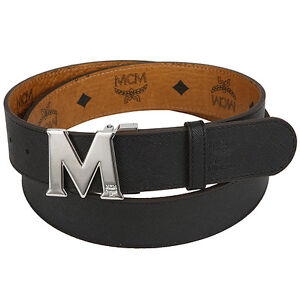 MCM Authentic Round M Buckle Visetos Cognac and Black Red Purple Reversible Belt