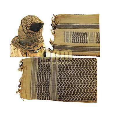 (Military Shemagh Tactical Arab Desert Keffiyeh Scarf Head Wrap Tan And Black)
