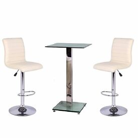 Glass Tall Boy Table and 2 White Leather Stools