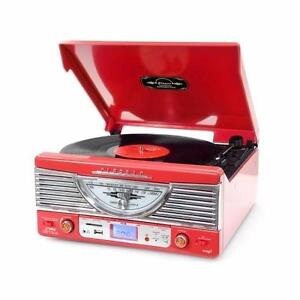 PYLE PTR8UR Retro Vintage Style Turntable Vinyl Record Player with USB/MP3 Computer Recording - Red
