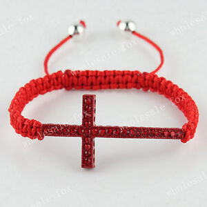 Fashion Curved Side Ways Cross Crystal Macrame Adjustable Bracelet 7.5-10