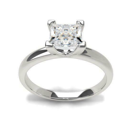 Si2 D Diamond Ring Princess Solitaire Genuine 1 Ct 18 Kt White Gold Size 5 6 7 8