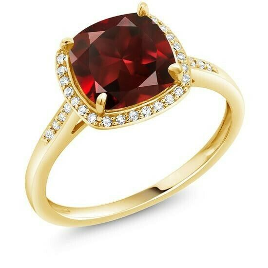 18K Gold Plated Created Red Ruby Emerald CZ Princess Cut Red Ruby Cubic Elements Fashion Jewelry