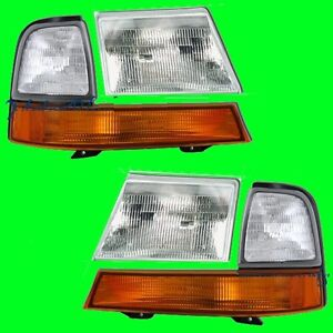 FORD RANGER XL XLT 1998 1999 2000 HEADLIGHTS HEADLAMPS & CORNER PAIR