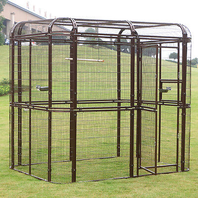Large Outdoor Walk-in Bird Parrots Cage Pet House Iron Wire Poultry Aviary Brown