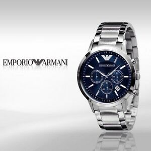 NEW EMPORIO ARMANI AR2448 MENS STEEL CHRONOGRAPH WATCH Next Day Delivery!