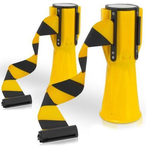 Pyle PCNTP16X2 Retractable Traffic Cone Hazard Warning Tape Barrier Belt (pair)