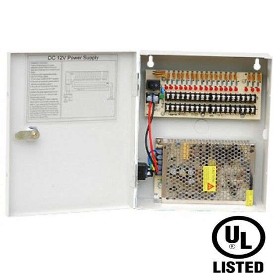 CCTV Power Supply Distribution Box 12V DC 18 channels 10Amps Resettable PTC Fuse