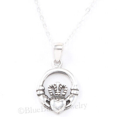 Claddagh Irish Love Heart Hands Charm Pendant 925 Sterling Silver 18  Necklace