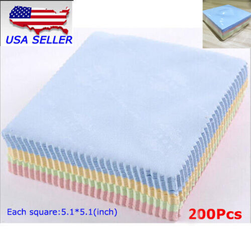 200PCS Microfiber Phone Screen Camera Lens Glasses Cleaning Cloth Square Cleaner