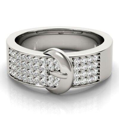 NEW LADIES 14k WHITE GOLD DIAMOND PAVE SET FASHION BUCKLE BAND RING JEWELRY