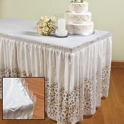 2 Lace-Printed Table Skirts White Plastic Wedding Decor Bridal Shower Decoration