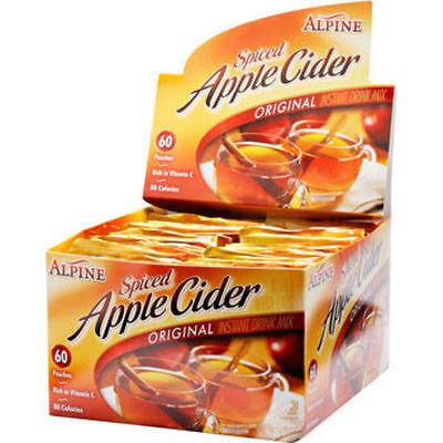 Lot of 2 Alpine Spiced Apple Cider Original Instant Drink Mix, 60 Packets Each