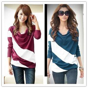 NEW-Women-s-Lady-Casual-Korean-Long-Sleeve-Bat-Loose-Splice-T-Shirt-Tops-S-XXL