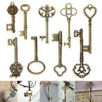 9Pcs Antique Vintage Skeleton Keys Bronze Charm Pendants ...