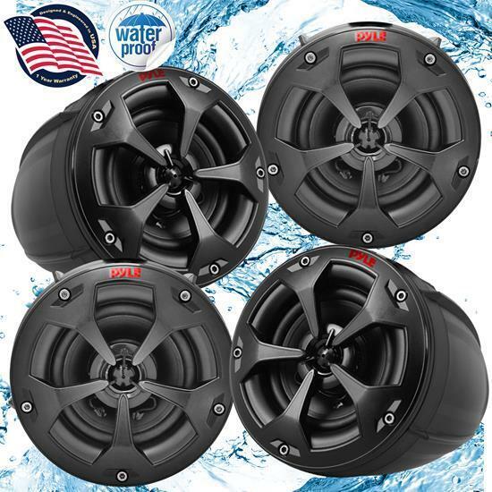 Pyle PLUTV44CH 1500W Waterproof Marine Speakers + 4 Ch. Rate