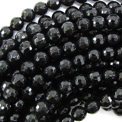 """Faceted Black Onyx Round Beads Gemstone 15"""" Strand 2mm 3mm 4mm 6mm 8mm 10mm 12mm"""