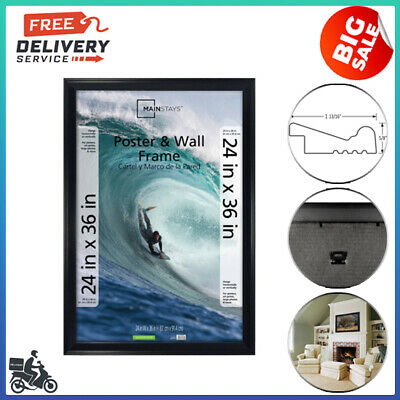 24x36 Casual Poster and Wall Picture Frame, Black, Plastic Construction FREESHIP