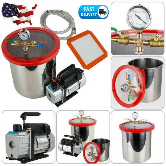 5Gallon 21L Stainless Steel Vacuum Degassing Chamber Silicone 3CFM Pump Hose Kit