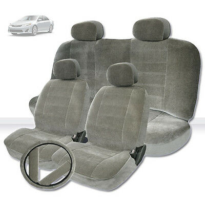 CAR TRUCK SEAT COVERS SET FOR TOYOTA PREMIUM GRADE GREY VELOUR FABRIC NEW
