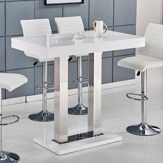 Caprice Bar Table In White High Gloss And Stainless Steel