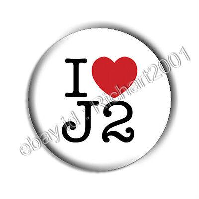 SUPERNATURAL BUTTON BADGE PIN - I LOVE J2 -Jensen Jared