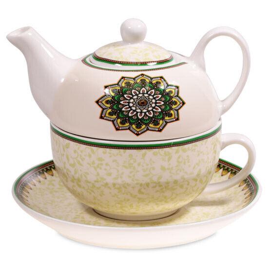 Tee for one Set Mandala GRÜN mit Kanne, Tasse und Teller Bone China Porzellan