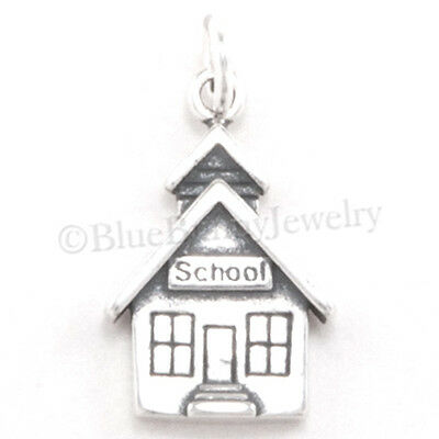 School Charm House Pendant Teacher Student 925  925 Sterling Silver