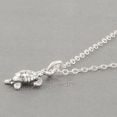 Mini BABY SEA TURTLE Charm Pendant  925 STERLING SILVER &  Necklace Tiny! -