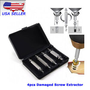 NEW USA 4PCS Screw Extractor Broken Bolt Drill Bits Easy Out Hand Tools