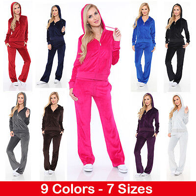 - Women's Athletic Soft Velour Zip Up Hoodie & Sweat Pants Set Jogging Suit - NEW