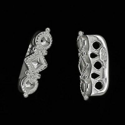 2 Sterling Silver 3 or 5 strand Dotted Pattern Spacer Bar 13mm #97911 5 Strand Spacer Bar