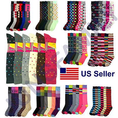 Women 6 12 Pairs Ladies Girls Knee high Multi Pattern Fashion School Socks -