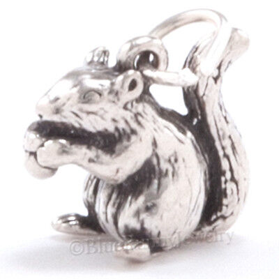 3D SQUIRREL w ACORN Solid 925 Sterling Silver Fall Autumn Jewelry Pendant Charm
