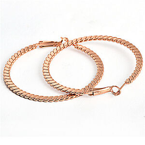Decent 50mm 9K Rose Gold Filled Womens Hoop Earrings  E1107