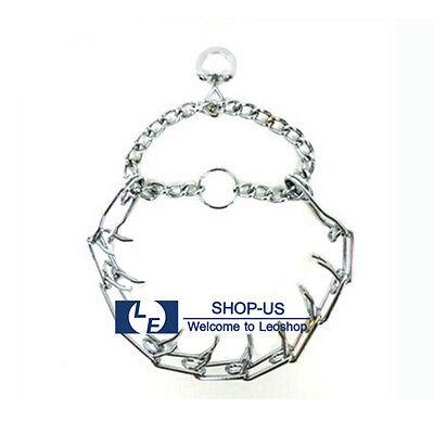 New Adjustable Metal Dog Training Guardian Prong Spike Collar Pinch Choke Chain