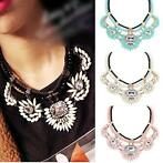 Crystal Flower Pendant Chunky Chain Statement Choker Neck...