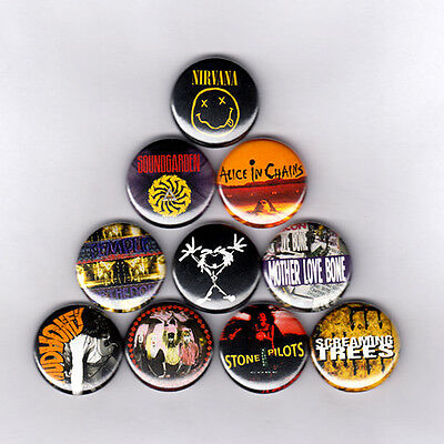 "GRUNGE 1"" PINS / BUTTONS w/ NIRVANA SOUNDGARDEN ALICE IN CHAINS & MORE (lp patch"