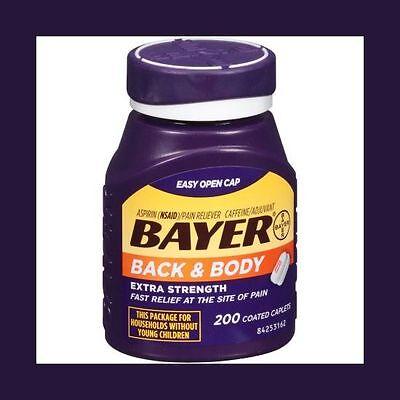 Bayer Back & Body Extra Strength Aspirin/Pain Reliever Coated Caplets, 200 count (Caplet Extra Strength Aspirin)