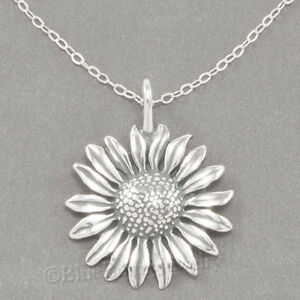 Sunflower necklace ebay sunflower charm garden sun flower pendant sterling silver 18 chain 925 necklace aloadofball Image collections