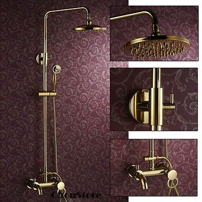 Luxury Polished Brass Gold Wall Mount Rain Shower Faucet Set with Tub Spout B111 - Fit Tub Spout Polished Brass