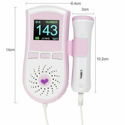Digital Ultrasound Fetal Doppler Baby Heart Monitor Pocket Handheldgelprobe