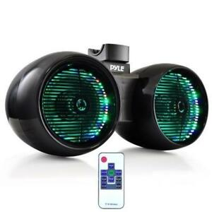 "PYLE PLMRWB652LEB 6.5"" Dual Marine Wakeboard / Tower Speakers, Built-in Programmable Multi-Color LED Lights w/ Remote,"