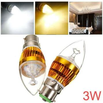 Dimmable B22 3W 220V White/Warm White LED Candle Bulb Gol...