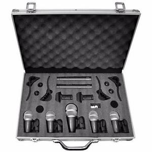PYLE PDKM7 Microphone Drum Kit 7 Wired Mics with Carry Case and Mounting Accessories