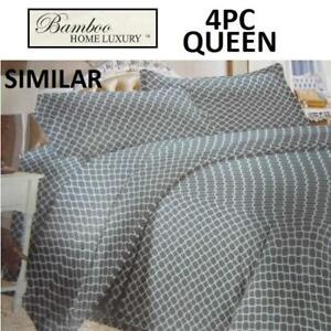 NEW BAMBOO 4PC BED SHEET SET QUEEN HAPS3500Q 225008925 HOME LUXURY 3500 THREAD COUNTS WRINKLE FREE BEDDING BEDROOM