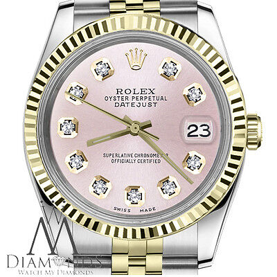 Ladies 26mm Rolex 2 Tone Datejust Metallic Pink Diamond Accent Dial Fluted Watch
