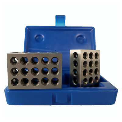 All Industrial 55502 1-2-3 Blocks With Case 23 Hole .0001 Tolerance