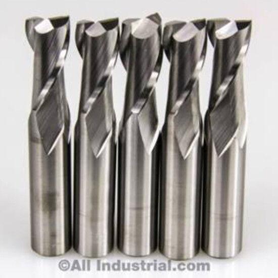 5 PCS 2 FLUTE SOLID CARBIDE 1/8 DIAMETER END MILL X 1/2 LOC X 1-1/2 CNC BIT